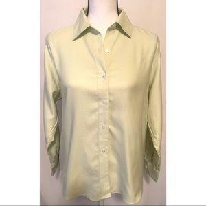 Talbots size 8 petite light sage button up blouse